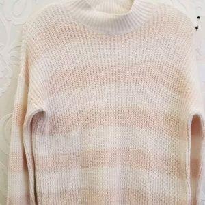 Lauren Conrad ivory & pink turtleneck sweater, M